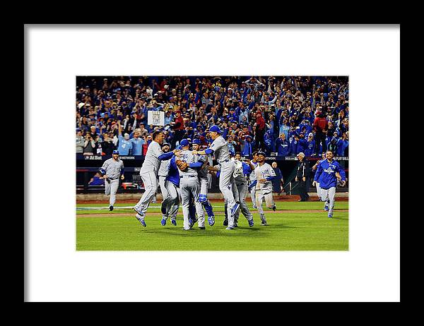American League Baseball Framed Print featuring the photograph World Series - Kansas City Royals V New by Jim Mcisaac