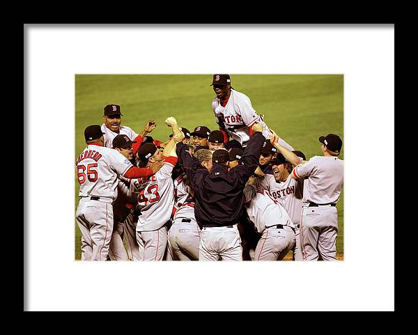 Celebration Framed Print featuring the photograph World Series Red Sox V Cardinals Game 4 by Stephen Dunn