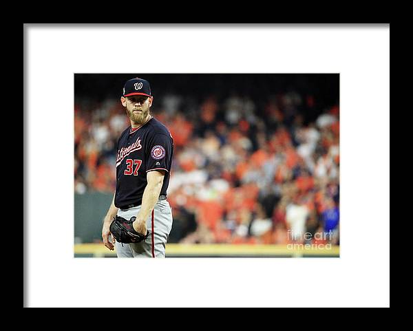 American League Baseball Framed Print featuring the photograph World Series - Washington Nationals V by Mike Ehrmann