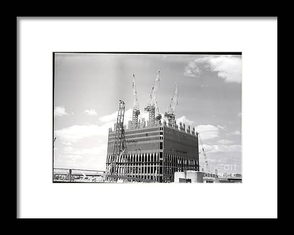 Trading Framed Print featuring the photograph World Trade Center Under Construction by Bettmann