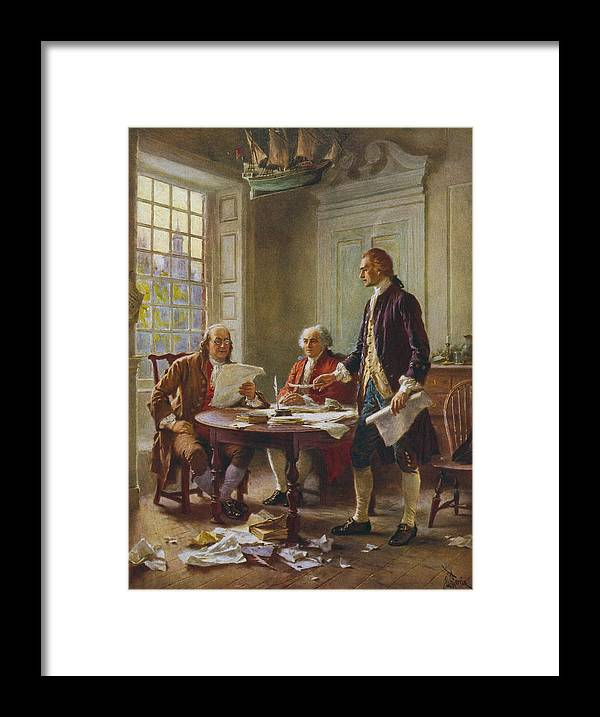 Declaration Of Independence Framed Print featuring the painting Writing The Declaration of Independence by War Is Hell Store