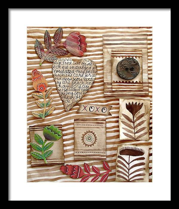Heart Framed Print featuring the mixed media Xoxo by Elaine Jackson