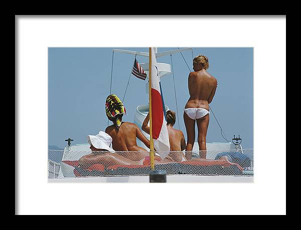 People Framed Print featuring the photograph Yacht Holiday by Slim Aarons
