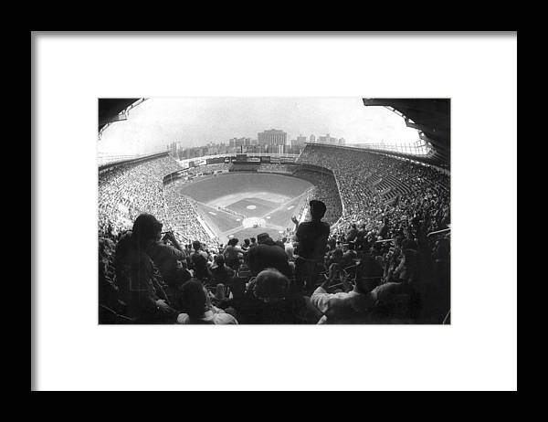1980-1989 Framed Print featuring the photograph Yankee Stadium Is Packed For The New Y by New York Daily News Archive