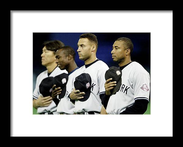 Hubert H. Humphrey Metrodome Framed Print featuring the photograph Yankees Listen To The National Athem by Elsa