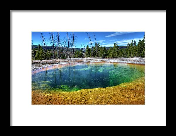 Morning Glory Pool Framed Print featuring the photograph Yellowstone Hot Spring by Dbushue Photography
