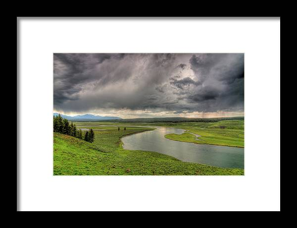 Scenics Framed Print featuring the photograph Yellowstone River In Hayden Valley by Kevin A Scherer