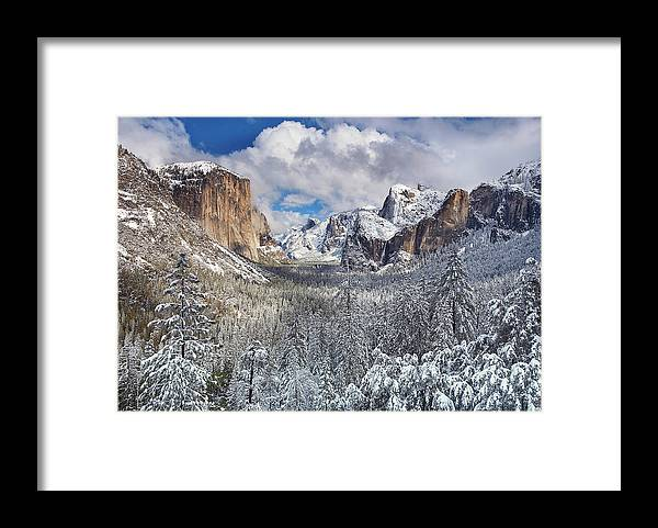 Scenics Framed Print featuring the photograph Yosemite Valley In Snow by Www.brianruebphotography.com