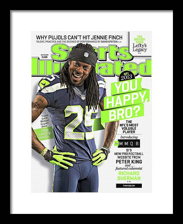 Magazine Cover Framed Print featuring the photograph You Happy, Bro The Nfls Most Voluble Player Sports Illustrated Cover by Sports Illustrated