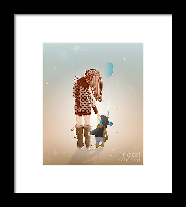 Love Framed Print featuring the digital art Young Mother With A Child Walking by Popmarleo