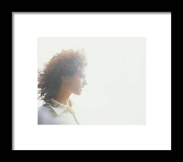 Beautiful Woman Framed Print featuring the photograph Young Woman, Profile Soft Focus by Thomas Barwick