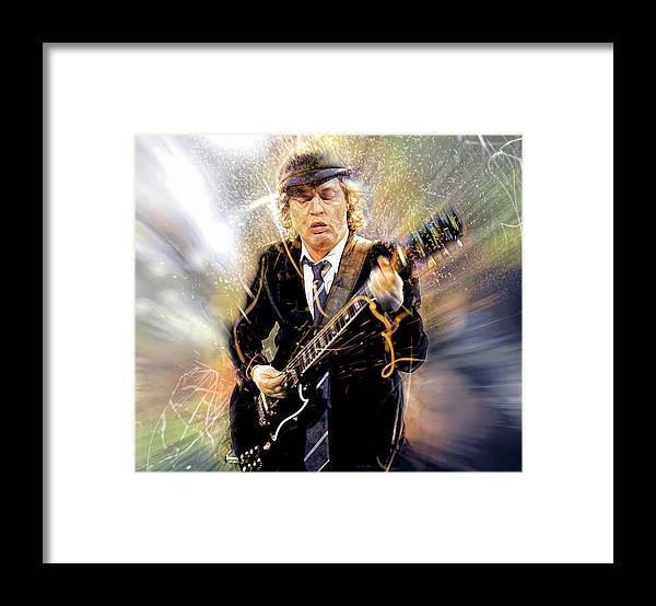 Angus Young Framed Print featuring the digital art You've been thunderstruck by Mal Bray