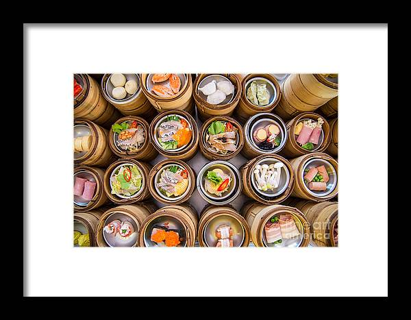 Container Framed Print featuring the photograph Yumcha, Dim Sum In Bamboo Steamer by Martinho Smart