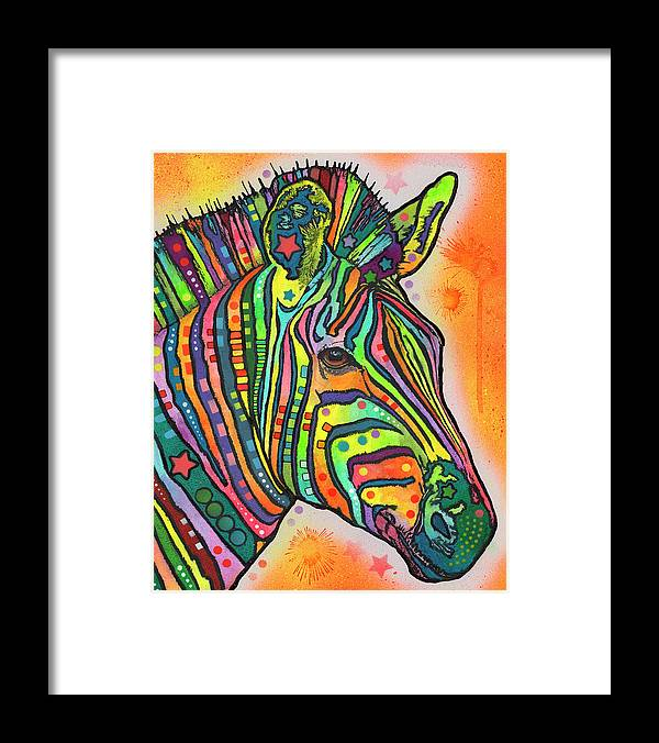 Zebra Framed Print featuring the mixed media Zebra by Dean Russo