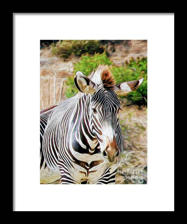 Animal Framed Print featuring the digital art Zebra Rendition I by Kenneth Montgomery