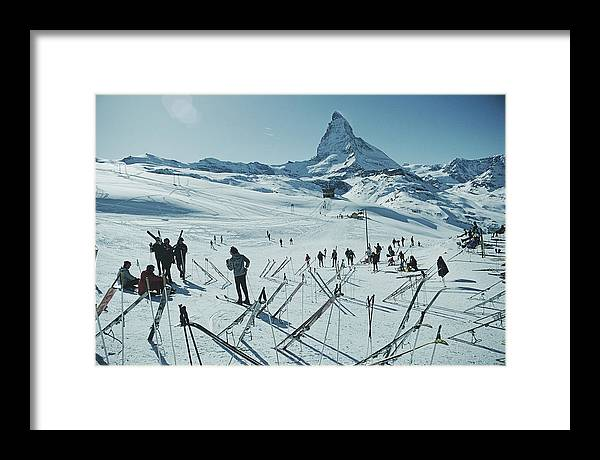 Shadow Framed Print featuring the photograph Zermatt Skiing by Slim Aarons