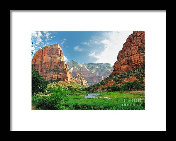 Southwest Framed Print featuring the photograph Zion Canyon With The Virgin River by Bjul