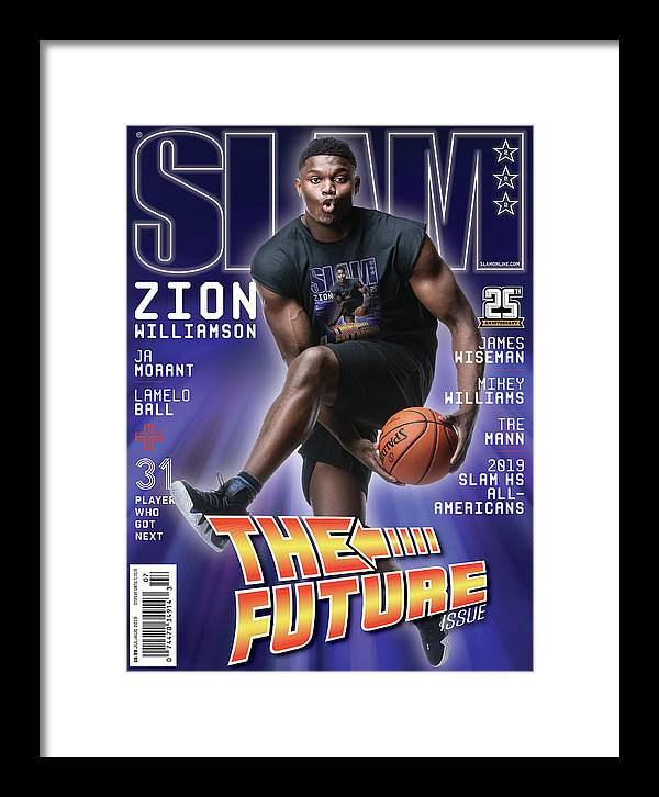 Zion Williamson Framed Print featuring the photograph Zion Williamson: The Future Issue SLAM Cover by Matthew Coughlin
