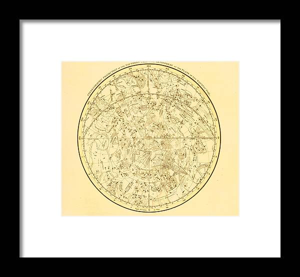 Engraving Framed Print featuring the digital art Zodiac Map by Nicoolay