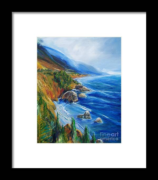 Seascapes Framed Print featuring the painting Big Sur by Eric Schiabor