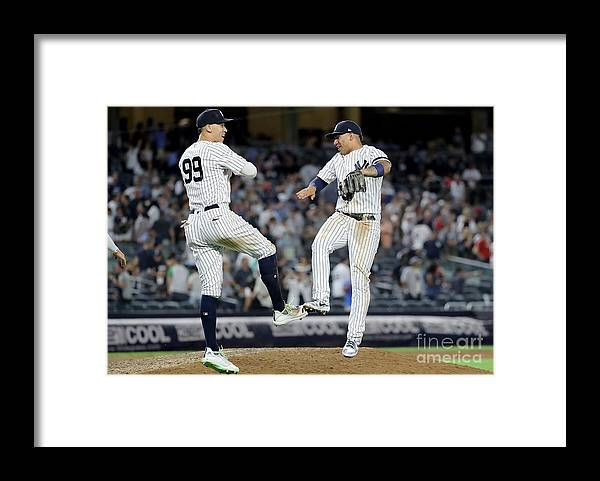 People Framed Print featuring the photograph Aaron Judge And Gleyber Torres by Elsa