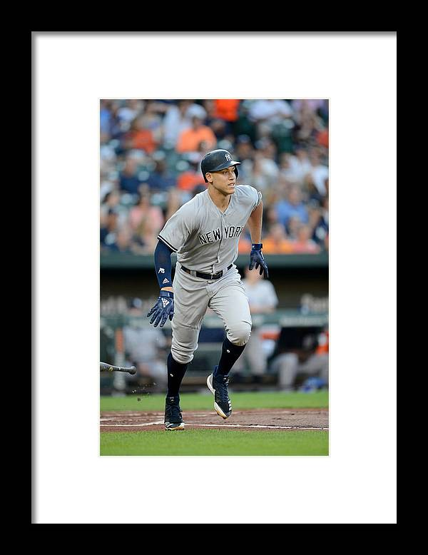 Game Two Framed Print featuring the photograph Aaron Judge by G Fiume