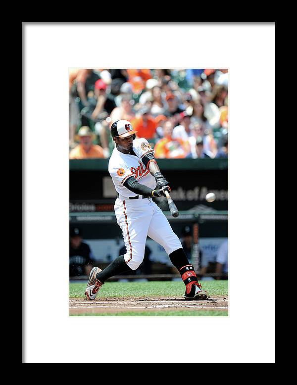 American League Baseball Framed Print featuring the photograph Adam Jones by Greg Fiume