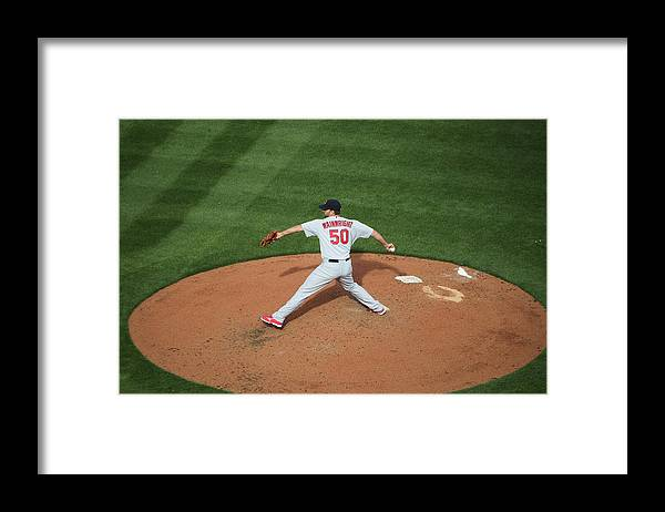 Great American Ball Park Framed Print featuring the photograph Adam Wainwright by John Grieshop