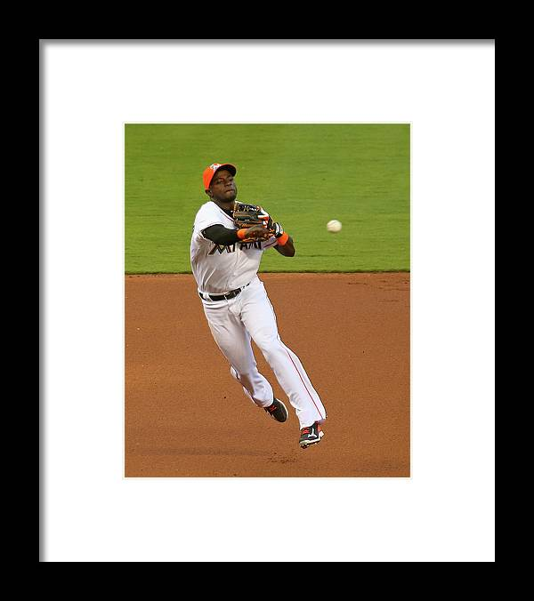 American League Baseball Framed Print featuring the photograph Adeiny Hechavarria by Mike Ehrmann