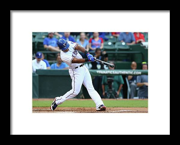 Adrian Beltre Framed Print featuring the photograph Adrian Beltre and Bruce Chen by Ronald Martinez
