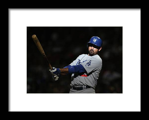 Ninth Inning Framed Print featuring the photograph Adrian Gonzalez by Christian Petersen
