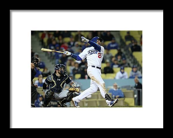 American League Baseball Framed Print featuring the photograph Adrian Gonzalez by Stephen Dunn