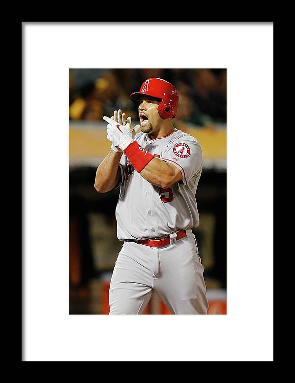 Three Quarter Length Framed Print featuring the photograph Albert Pujols by Brian Bahr