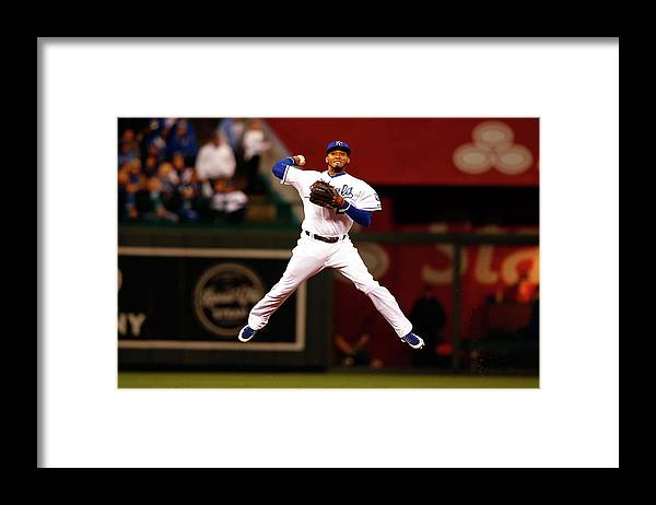 People Framed Print featuring the photograph Alcides Escobar by Jamie Squire