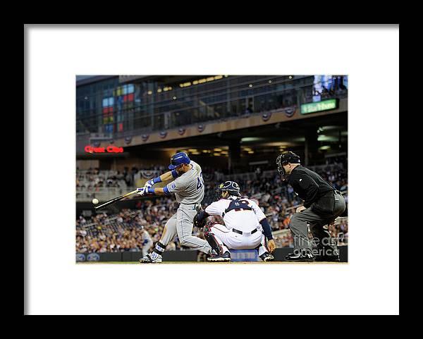 American League Baseball Framed Print featuring the photograph Alex Gordon and Kurt Suzuki by Hannah Foslien