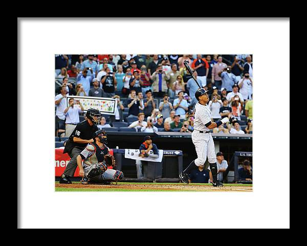 People Framed Print featuring the photograph Alex Rodriguez and Justin Verlander by Al Bello