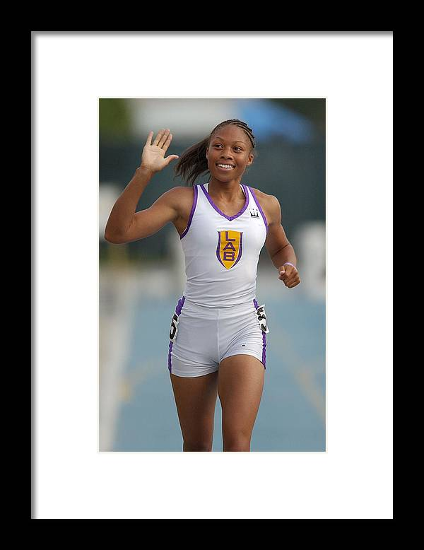 California Framed Print featuring the photograph Allyson Felix, National 200-Meter High School Record-Holder by Kirby Lee