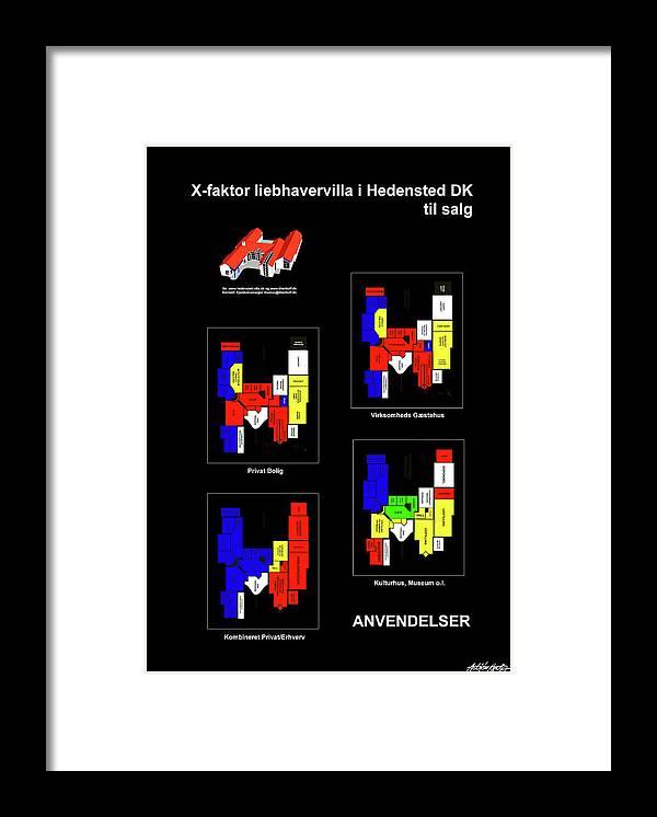 Framed Print featuring the mixed media Anvendelser af X-faktor liebhavervilla i Hedensted DK til salg by Asbjorn Lonvig