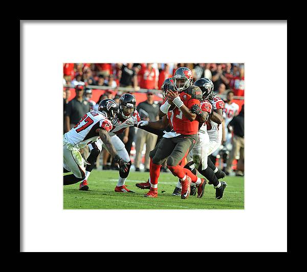 People Framed Print featuring the photograph Atlanta Falcons v Tampa Bay Buccaneers by Cliff McBride