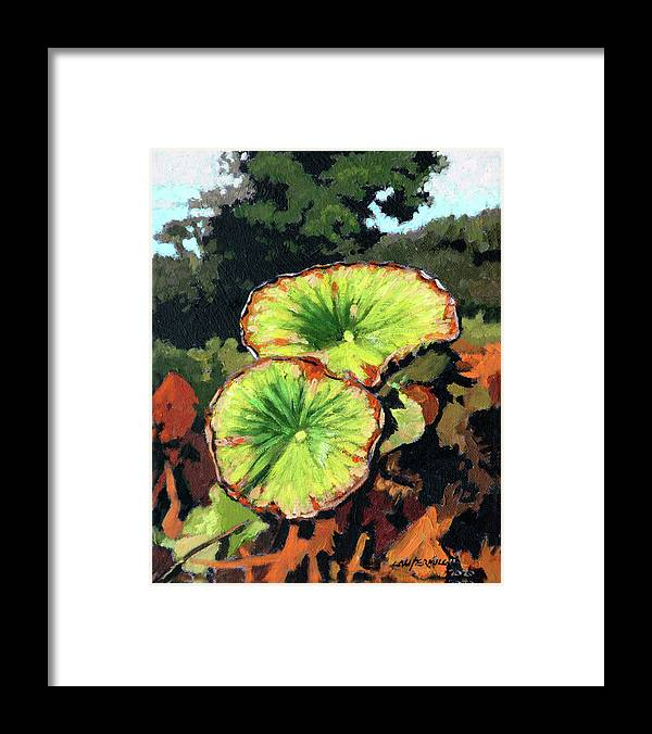 Lotus Leaves Framed Print featuring the painting Autumn Lotus Leaves by John Lautermilch