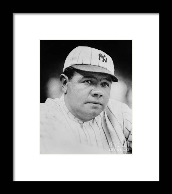 People Framed Print featuring the photograph Babe Ruth by Mlb Photos