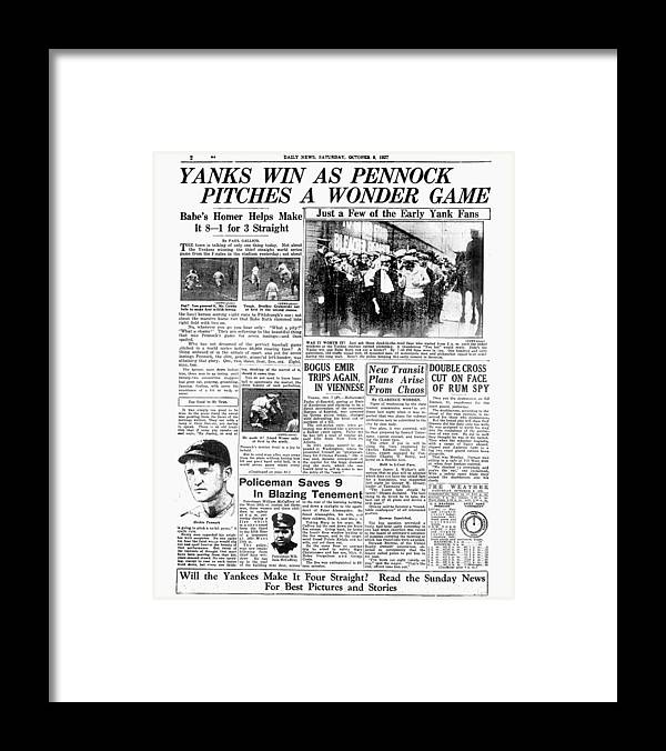 American League Baseball Framed Print featuring the photograph Babe Ruth by New York Daily News Archive