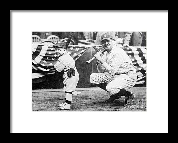 American League Baseball Framed Print featuring the photograph Babe Ruth by Transcendental Graphics