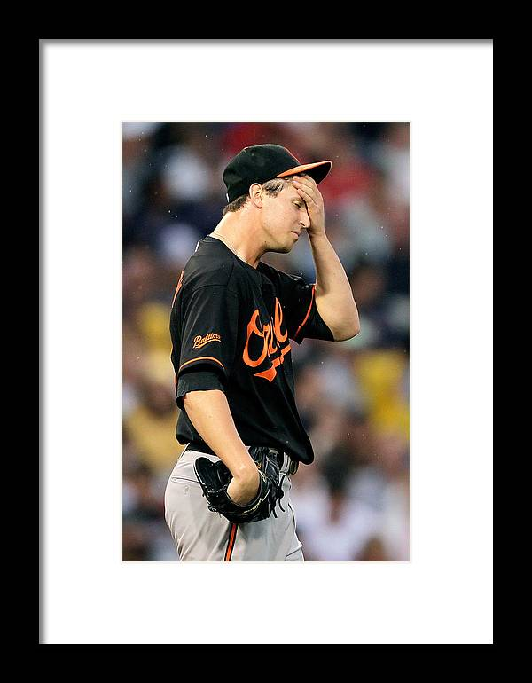 American League Baseball Framed Print featuring the photograph Baltimore Orioles V Boston Red Sox by Jim Rogash