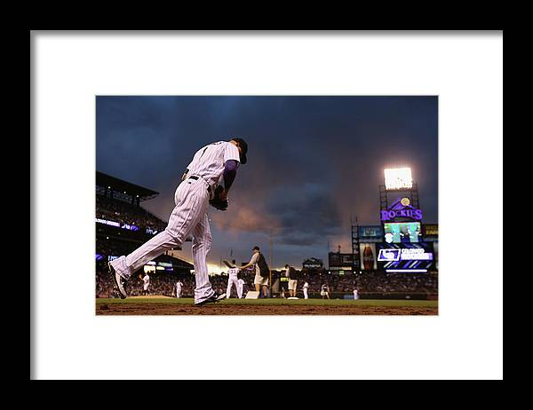 National League Baseball Framed Print featuring the photograph Brandon League by Doug Pensinger