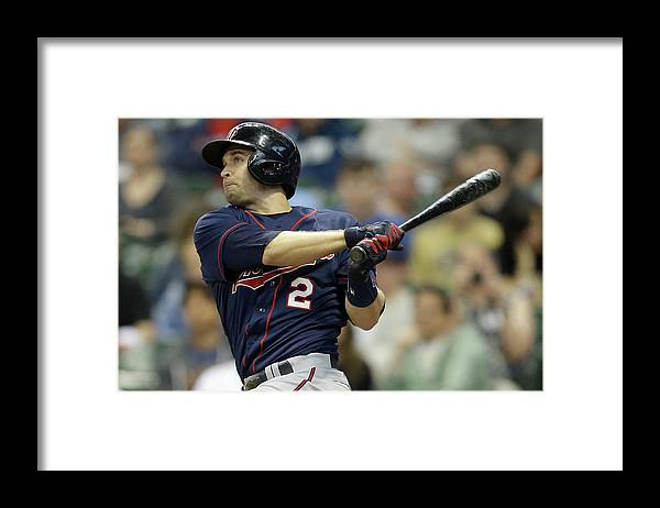 Three Quarter Length Framed Print featuring the photograph Brian Dozier by Mike Mcginnis