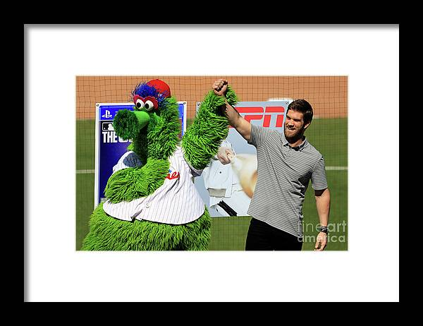 Three Quarter Length Framed Print featuring the photograph Bryce Harper by Mike Ehrmann