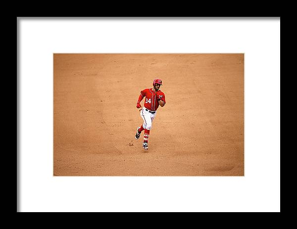 People Framed Print featuring the photograph Bryce Harper by Rob Carr