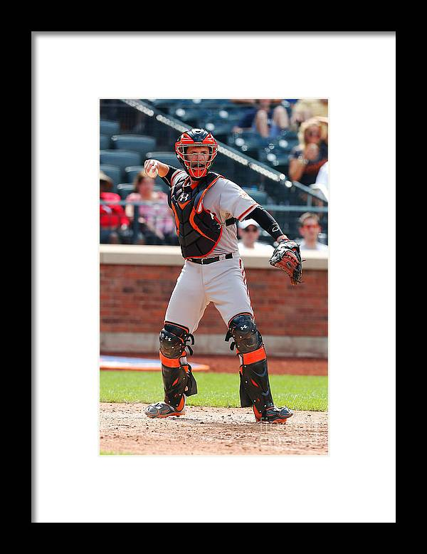 American League Baseball Framed Print featuring the photograph Buster Posey by Mike Stobe