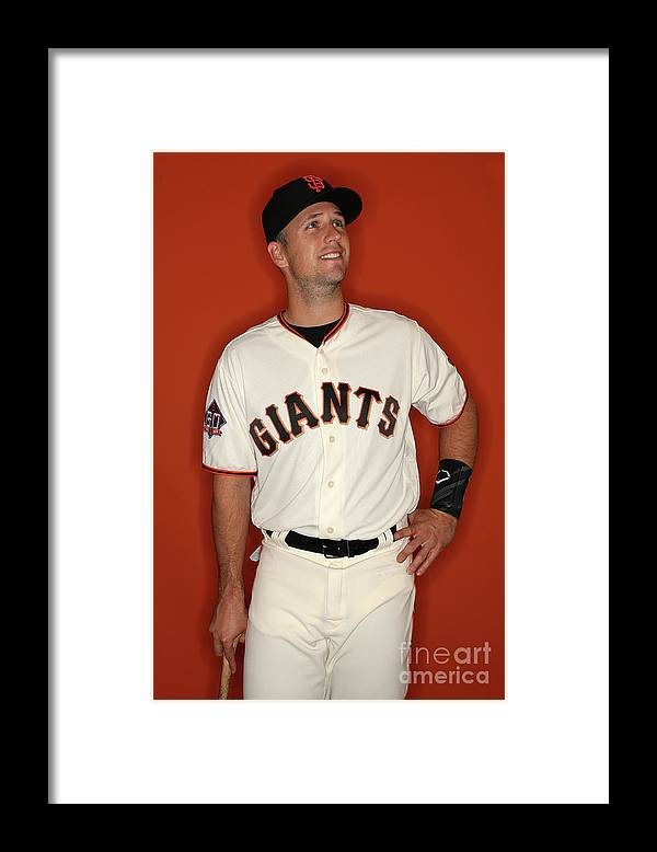 Media Day Framed Print featuring the photograph Buster Posey by Patrick Smith